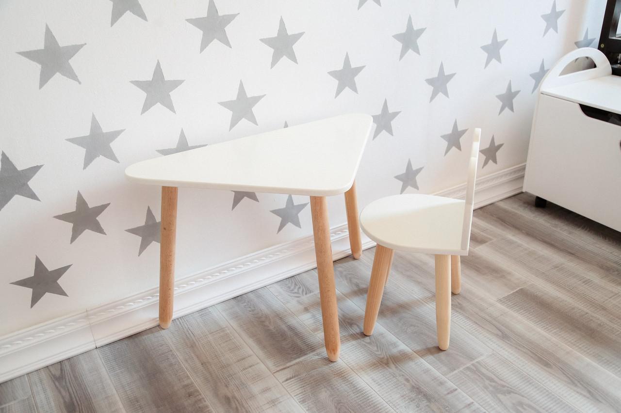 Стол треугольный и стул МИШКА белый KR132