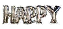 Фольгированные буквы серебряные HAPPY, 147х37 см 1613