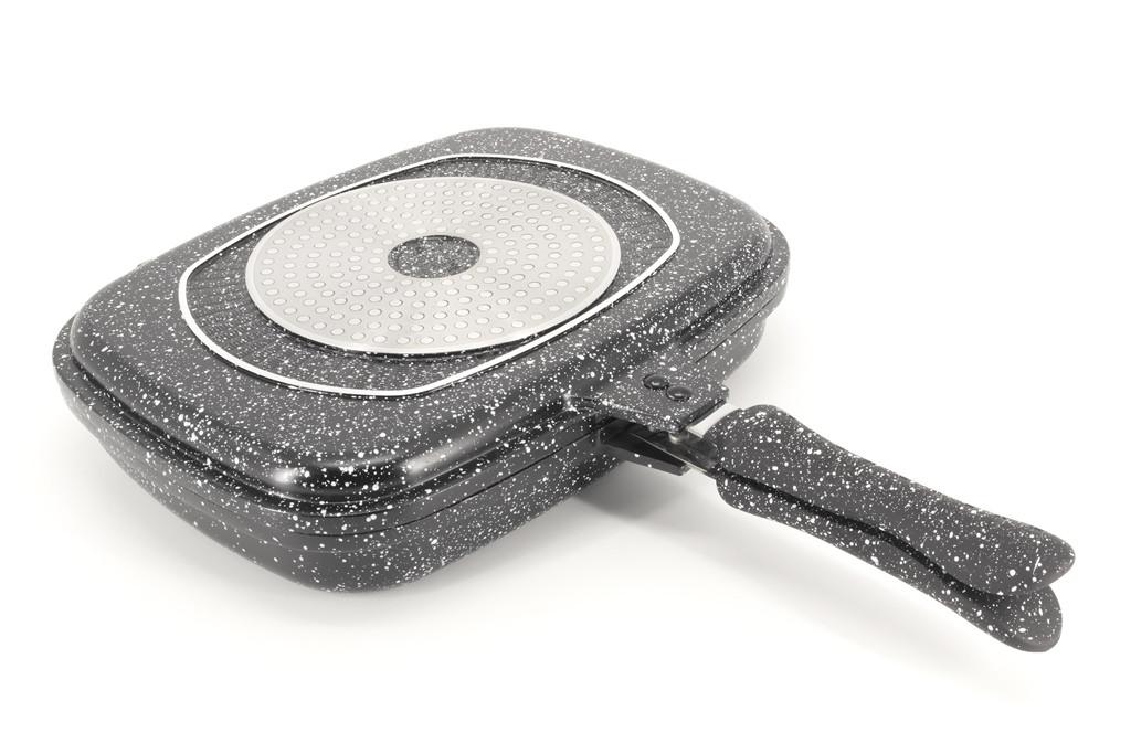 Двухсторонняя сковорода-гриль двойная для гриля и жарки с мраморным покрытием A-PLUS FP-1500 32 см Black