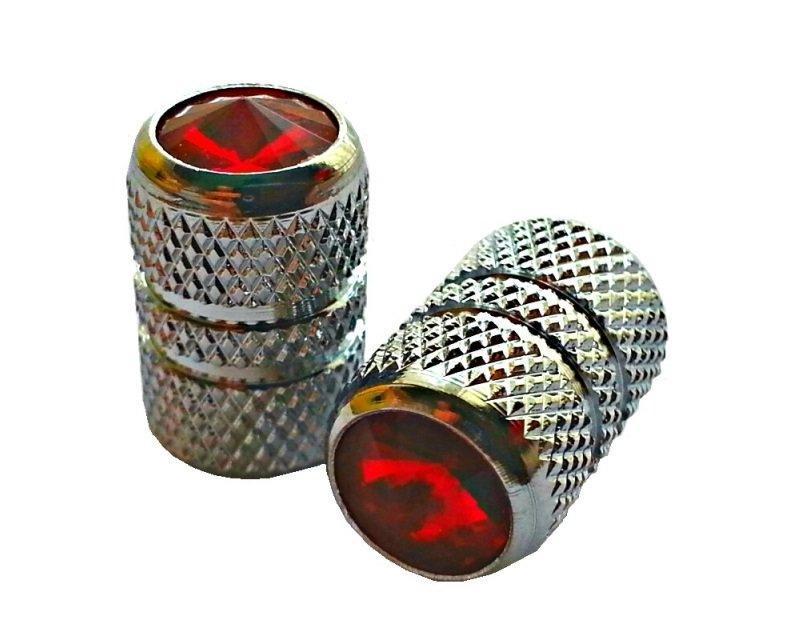 Колпачок для камеры TW V07 сереб. цвета  с диамантом красн. цвета (в комплекте 2шт)