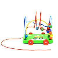 Деревянная игрушка Каталка на нитке + пальчиковый лабиринт, развивающие товары для детей.