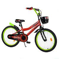 Велосипед детский 2-х двухколесный 20 дюймов CORSO красный с салатовым с корзиной от 6-10 лет