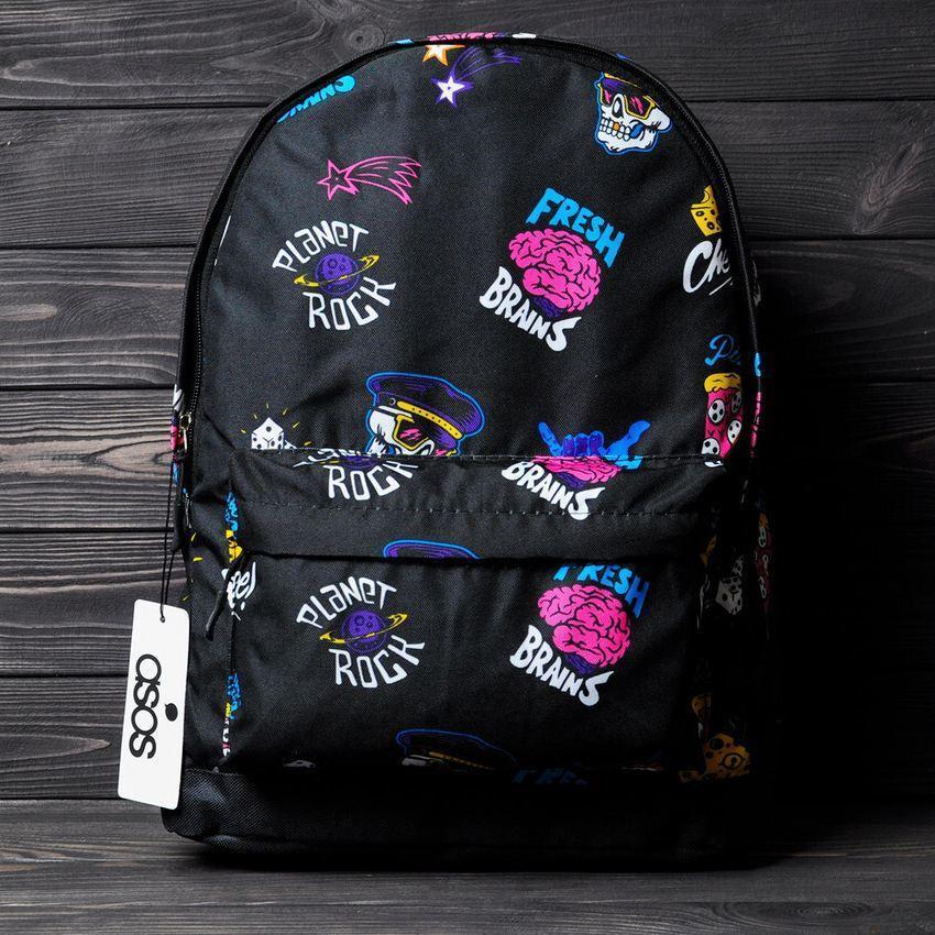 Стильный рюкзак с принтом Fresh Brains. Для путешествий, тренировок, учебы