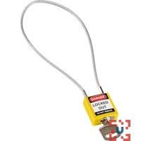 Компактный блокирующий замок, гибкая стальная дужка в ПВХ изоляции, высота дужки 200 мм, диаметр дужки 4.7 мм, цвет - желтый, 1 ключ,