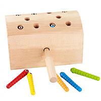 Деревянная игрушка Магнитная рыбалка «Гусенички» (неокрашенная), развивающие товары для детей.