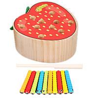 Деревянная игрушка Магнитные гусенички «Клубничка», развивающие товары для детей.