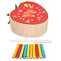 Деревянная игрушка Магнитные гусенички «Помидор», развивающие товары для детей.