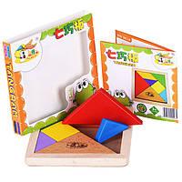 Деревянная игрушка Развивающая головоломка «Танграм», развивающие товары для детей.
