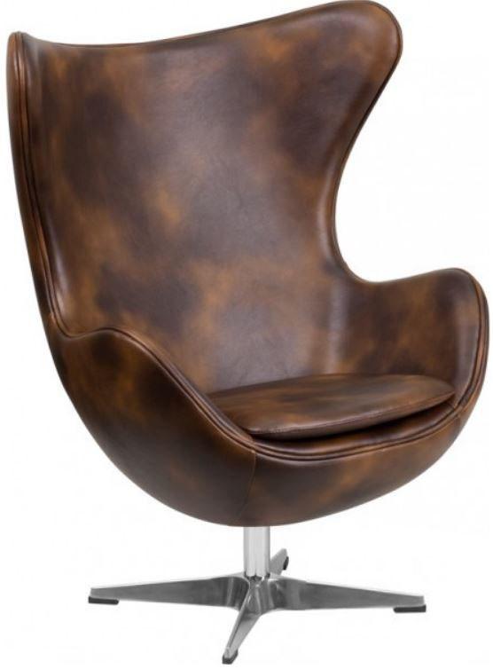 Кресло Эгг (Egg), кожа, металл, цвет коричневый
