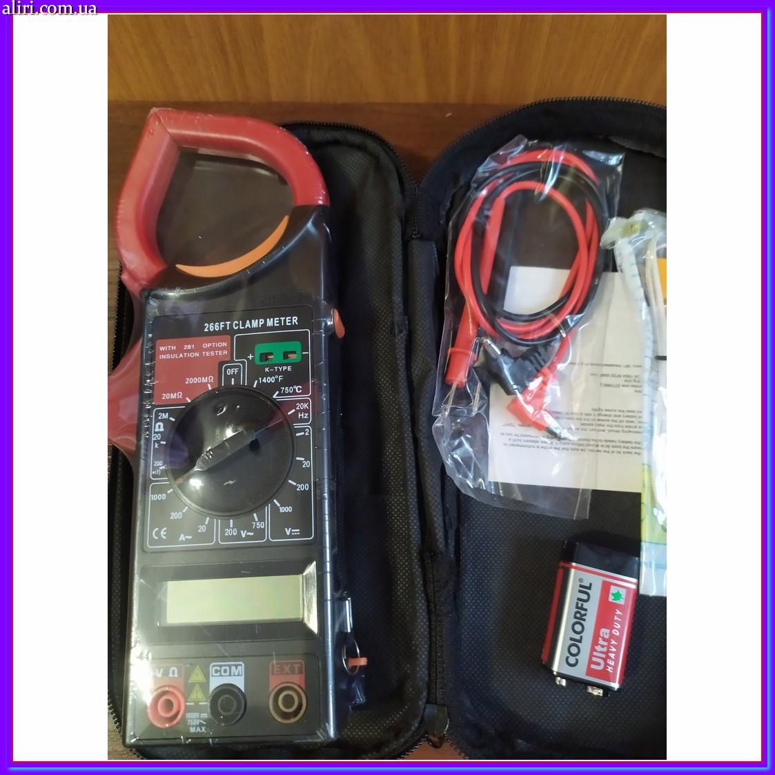 Професійний мультиметр тестер + струмовимірювальні кліщі DT 266 FT