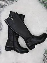 Жіночі стильні шкіряні зимові чоботи