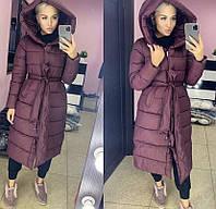 Куртка женская  очень теплая синтепон 300 с поясом и капюшоном 42-46 рр.