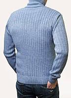 Теплый мужской голубой свитер хомут, 70%шерсть 30% акрил, Размеры: M, L, XL