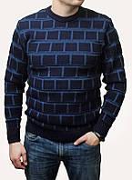 Мужской теплый свитер в клетку, 70%шерсть 30 акрил, большие размеры: 50-52, 54-56, 58-60