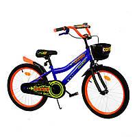 Велосипед детский 2-х двухколесный 20 дюймов CORSO Синий с оранжевым с корзиной от 6-10 лет