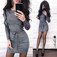 Люрексовое міні сукня з поясом