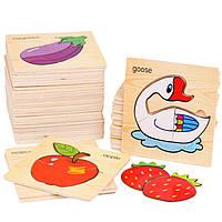 Деревянная игрушка Пазл для самых маленьких «Ассорти», развивающие товары для детей.