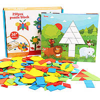 Деревянная игрушка Геометрический пазл «Сложи узор», 250 дет., развивающие товары для детей.