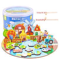 Деревянная игрушка Игра-рыбалка «Ферма», развивающие товары для детей.