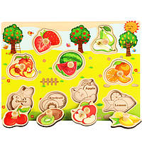 Деревянная игрушка Рамка-вкладыш «В саду», развивающие товары для детей.
