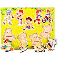 Деревянная игрушка Рамка-вкладыш «Спорт», развивающие товары для детей.