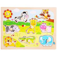 Деревянная игрушка Рамка-вкладыш «Дикие животные», развивающие товары для детей.