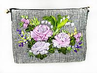 Сумка вышитая лентами Сиреневые розы, фото 1