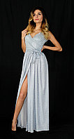 Роскошное блестящее платье на запах под пояс, фото 1