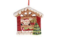 Декоративная керамическая новогодняя подвеска Домик Санты, 9.5см, уп.6 шт.