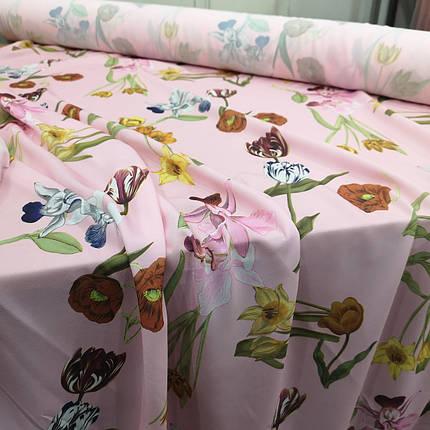 Ткань супер софт принт крупные цветы на розовом А-4, фото 2