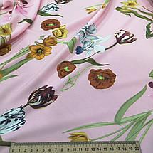 Ткань супер софт принт крупные цветы на розовом А-4, фото 3