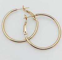 Женские серьги, сережки  кольца Fallon 30 мм, позолота 18К