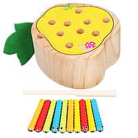Деревянная игрушка Магнитные гусенички «Груша», развивающие товары для детей.