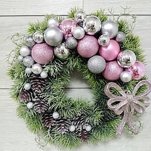 Різдвяний вінок Волинські візерунки з литого хвої (срібно-рожевим)
