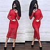 Вечернее платье с прозрачным верхним слоем из кружева, красное