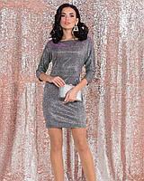 Блискуче плаття до середини стегна з рукавом три чверті, фото 1