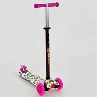 Самокат MAXI Best Scooter Бабочки розовый со светящимися колесами