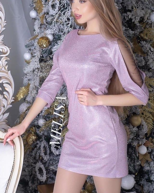 Роскошное платье с блестящим напылением с открытыми плечами