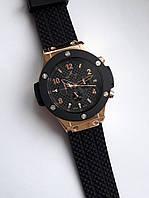 Часы мужские стильные B118 модные черные с золотом каучуковый ремень
