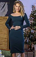 Платье женское демисезонное трикотаж с напылением 42-58 размеров,цвет бутылочный