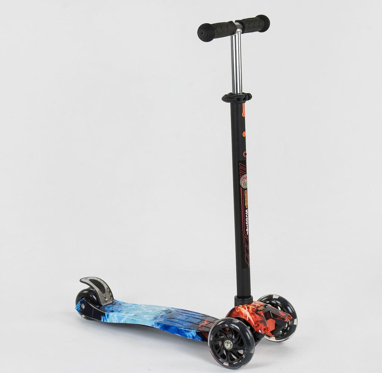 Детский самокат MAXI Best Scooter. Огонь и Лед 2. Светящиеся черные колеса!