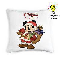"""Подушка ночник """"Микки Маус с Новым Годом"""" (светящаяся)"""
