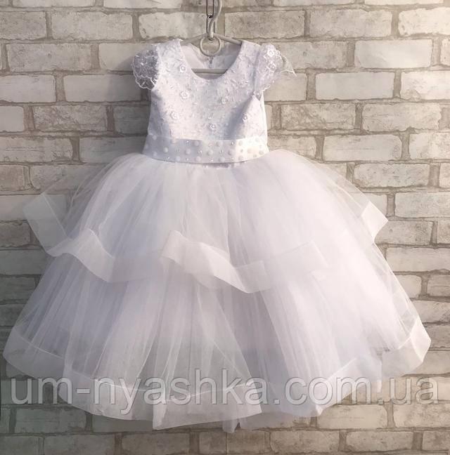 снежинка пышное белое платье на рост 104-116