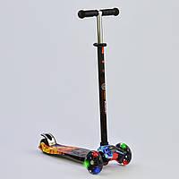 Самокат MAXI Best Scooter Стихии Огонь черный со светящимися колесами
