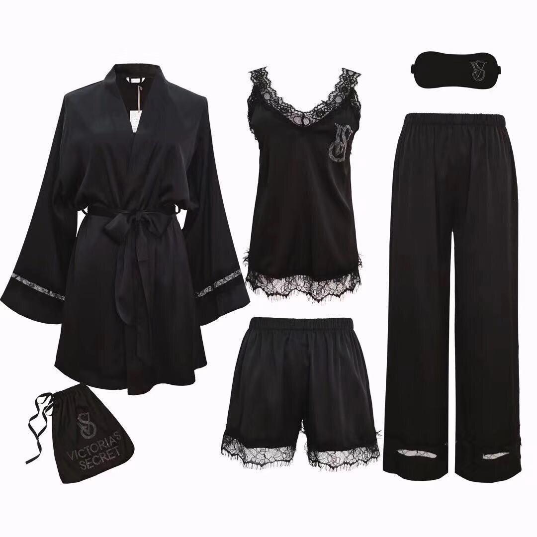 Фирменная шелковая пижама VS 5в1 черная