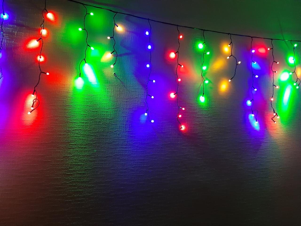 Гирлянда светодиодная Бахрома 3х0,6м, 144led Разноцветная ( гирлянда на окно мультик )