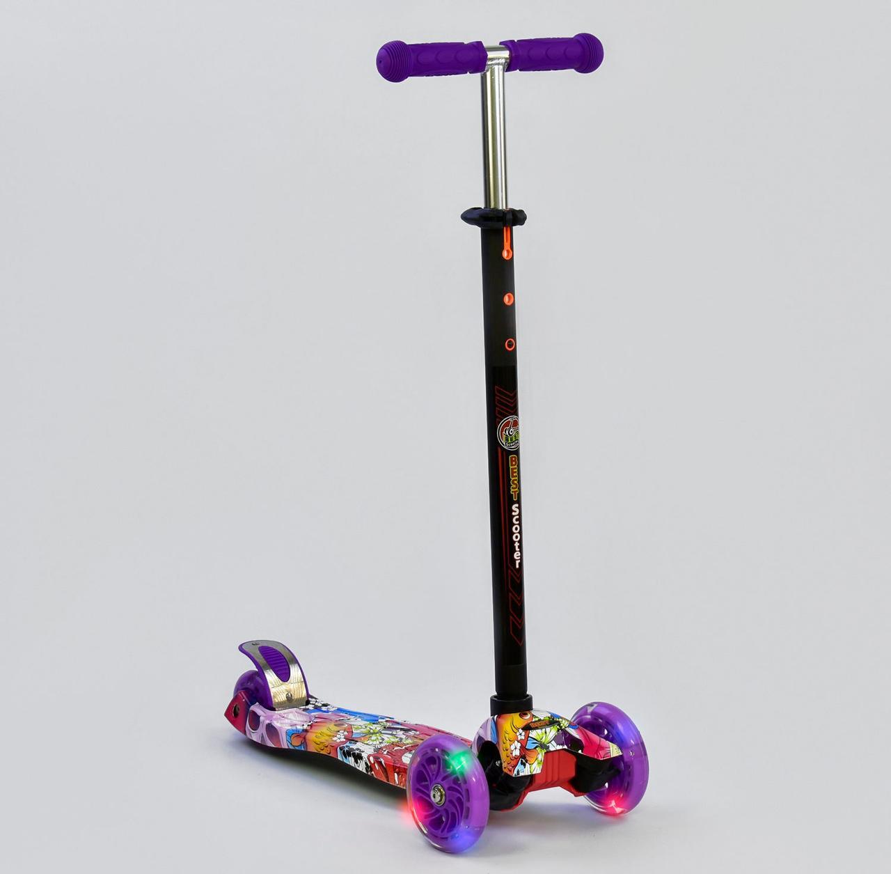 Детский самокат MAXI Best Scooter. Абстракция . Светящиеся колеса!