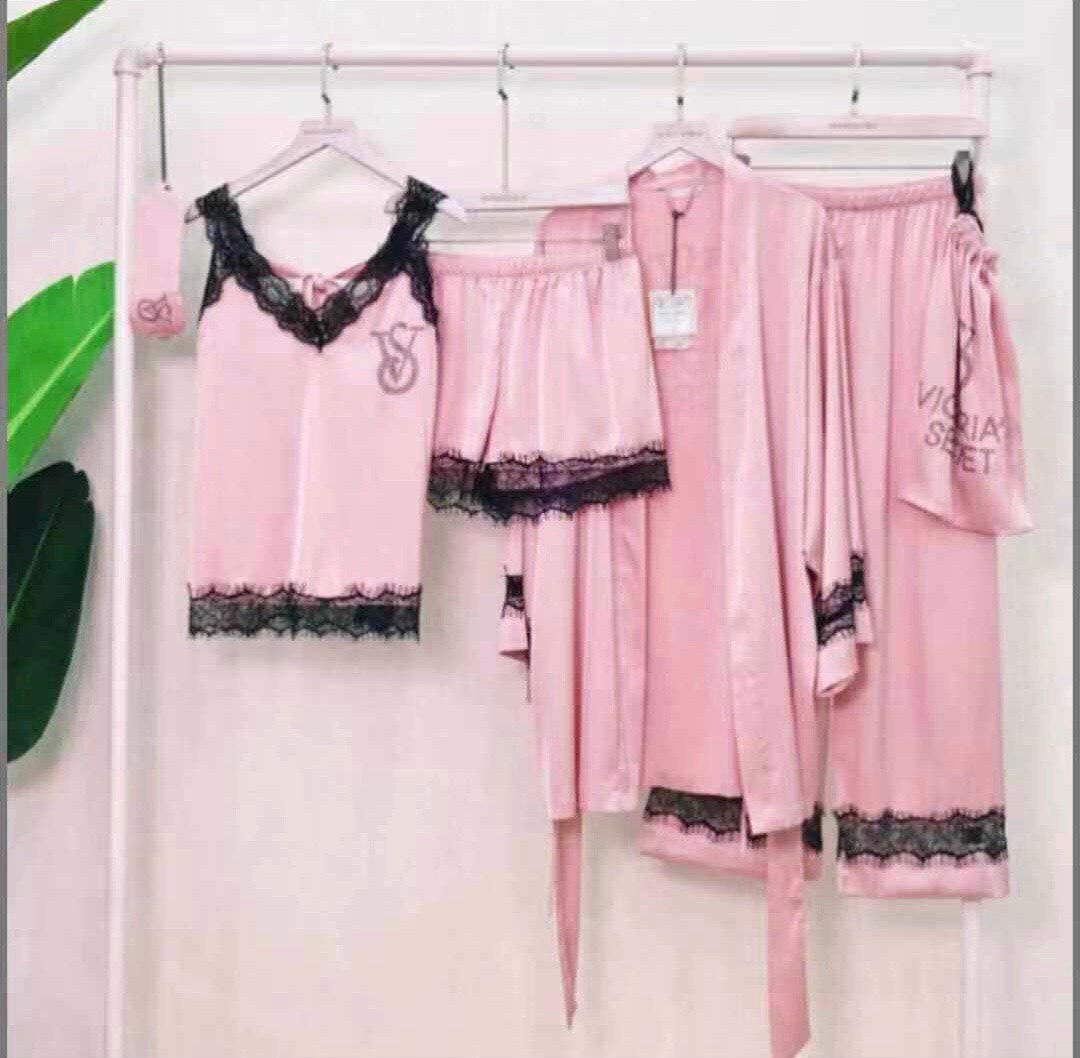 Фирменная шелковая пижама VS 5в1 розовая