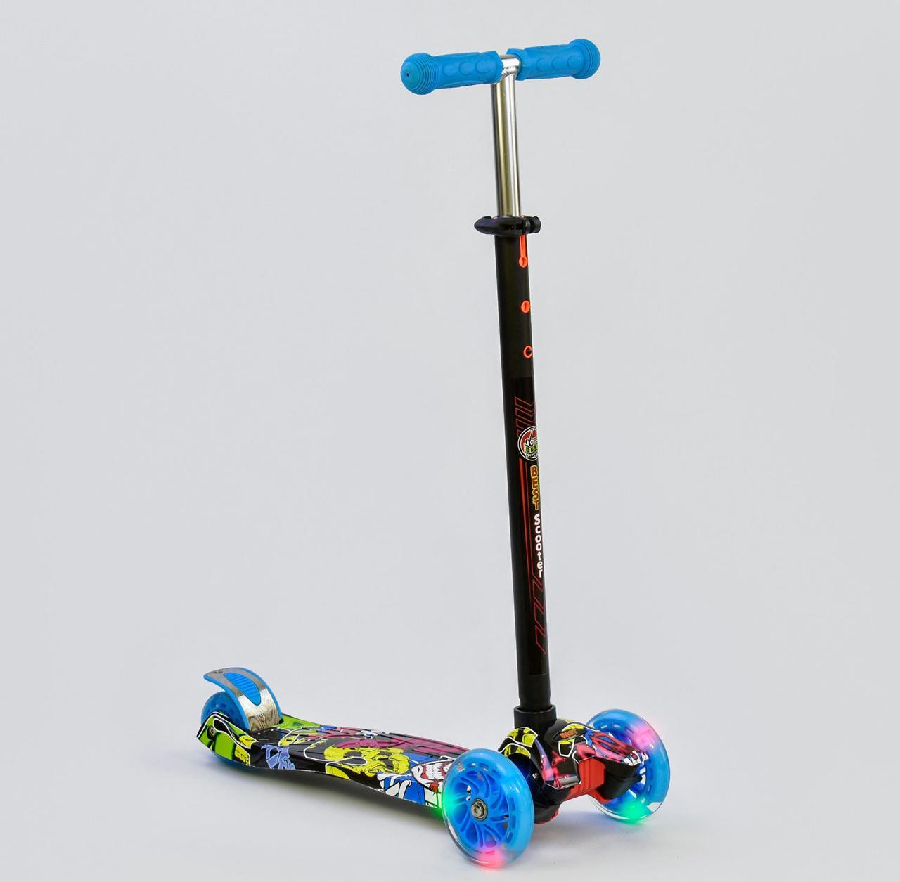 Детский самокат MAXI Best Scooter. Графити 3 . Светящиеся колеса!