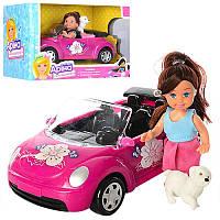 Машина кабриолет для куклы, кукла маленькая11 см, собачка, машинка 21 см, K899-14